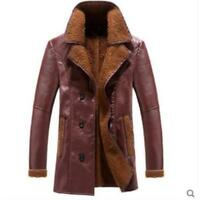Mens PU Leather Coat Slim Jacket Warm Lapel Collar Fur Lined Thicken Long Parka
