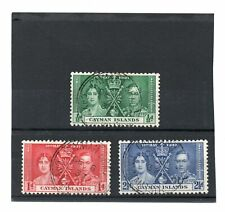 Cayman Islands GV1 1937 Coronation sg 112-14 Used