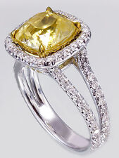 18K White Gold Cushion Yellow Citrine Round Cut Diamond Ring Split Band 3.65ctw