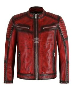 RACER Mens Leather Jacket Red Black Waxed Quilted Stitch Biker Leather Jacket