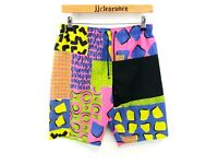 CRAZY PATTERN Mens Swim Shorts W32 L10 Pink Yellow Black Blue Green Polyester