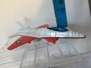 "Vintage Tootsietoy Diecast & Plastic F16 Fighter Jet 6 3/4"" Airplane Toy"