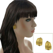 """Vintage Gold Tone Statement Big Ribbed Weave Texted Design Clip On Earrings 7/8"""""""