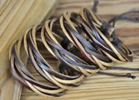 Lot 5pcs Surfer Multi Band Leather Hemp Braided Bracelet Wristband Bangle Unisex