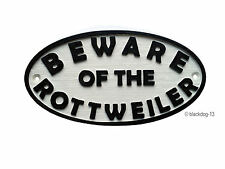 Beware of The Rottweiler Dog Sign - House Garden Plaque - White/Black