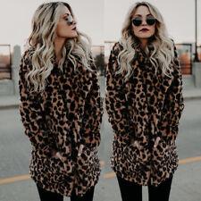 L Leopard Jacket Women Faux Fur Top Coat Warm Casual Winter Overcoat Long Sleeve