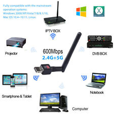 600Mbps Dual Band 2.4/5Ghz Wireless USB WiFi Network Adapter Antenna 802.11 FB