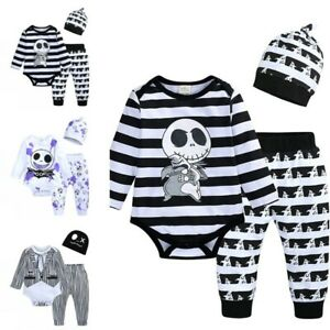 Boy Girl Skeleton Costume Child Haunted House Halloween Fancy Romper Kids Outfit