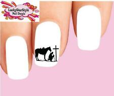 Waterslide Nail Decals Set of 20 - Cowboy & Horse at Cross Silhouette