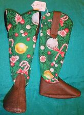 Brown Vinyl & Peppermints Christmas Cowboy Boots for My Size Barbie Doll MYBT49