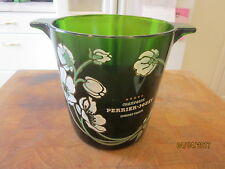 Perrier Jouet Champagne Ice Bucket Green Glass Hand Applied Japanese Anemones
