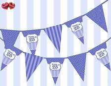 Brilliant Blue Happy 25th Birthday Vintage Polka Dots Theme Bunting Banner Party