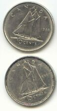 Canada 1988 and 1989 Canadian Dimes Ten Cents 10c 10 c *EXACT* COIN SHOWN