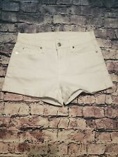 7 FOR ALL MANKIND WOMENS WHITE COTTON BLEND CUFFED JEAN SHORTS SZ 25