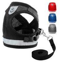 Small Black Dog Harness & Dog Lead Soft Mesh Puppy Cat Harness Vest Reflective