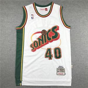 Retro 95 96 Shawn Kemp #40 Seattle SuperSonics Basketball Trikot Genäht Weiß