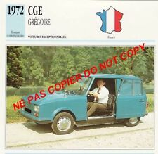 CGE 1972 GREGOIRE ELECTRICITE PROTOTYPE VOITURE CAR FRANCE CARTE FICHE