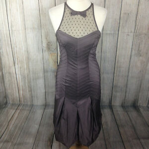 Stunning Brown KAREN MILLEN Bubble-Hem Fitted Dress Size 8