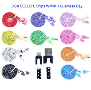 USB Cable Charger Cord Braided For Phone 12, 11, X, 8 7, 6 & 5  Lot