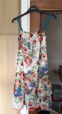 RIVER ISLAND drop Hem Vintage Style Cream Floral Cami Dress 10 Swing Holiday