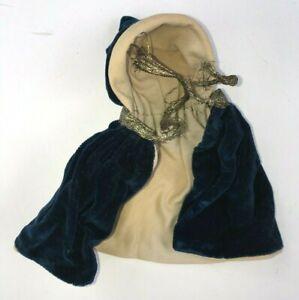 """Antique Dolls Blue Velvet Cape with Hood for 6""""-8"""" doll"""