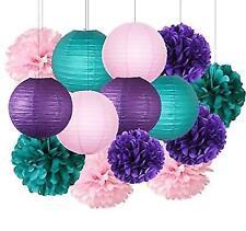 96cb00a8b0a9 Furuix Under the Sea Party Decor Purple Teal Pink Decorations Purple Paper  Pom L