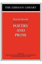 Poetry and Prose: Bertolt Brecht (German library), Good Condition Book, , ISBN 9