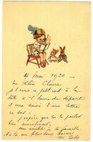 CPA Fantaisie fillette assise sur une chaise illustration postcard fantasy
