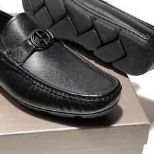 Armani Black Leather 6 38 Men's Bit Loafers Driver Dress Pebbled Shoes Fashion