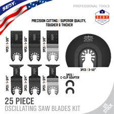 25pc Wood Metal Oscillating Multi Tool Quick Release Saw Blades Kit Universal
