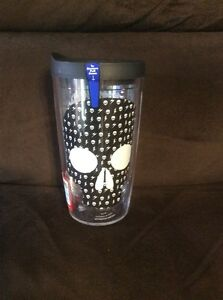 TERVIS TUMBLER MADE IN USA 16 OZ.HALLOWEEN BLACK & WHITE SKULL  HOT/COLD & LID