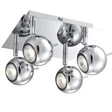 Kugel Deckenleuchte eckig 4 flammig chrom Retro Küchenlampe Deckenlampe quadrat