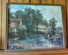 VINTAGE FRAMED/GLASS PICTURE COUNTRY SCENE MID-CENTURY ART-RIVER PRINT
