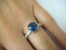 HAND CARVED 18K WHITE GOLD 2.10 CT SAPPHIRE & DIAMONDS LADIES DESIGNER RING