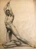 Académie & Dessin & Nu Masculin &  Homme & XIX ème Siècle & Anonyme