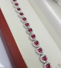 White gold finish heart design red ruby and created diamond bracelet