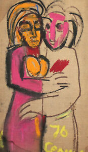1976 European expressionist oil painting nudes signed