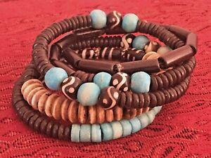 Boho Wrap Bracelet Wood And Turquoise Stones Gold Spacers