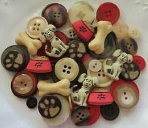 Lot of 50 Buttons - DOG MIX  (Novelty, Shank, 2 and 4-Hole)