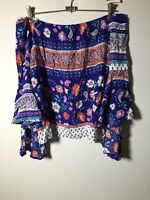 Jaase Womens Blue Floral Boho Off Shoulder Blouse Top Size L Long Sleeve Rayon