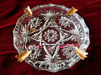 ANCHOR HOCKING CLEAR GLASS LARGE ASHTRAY GOLD LEAVES STAR HOLLYWOOD REGENCY MCM