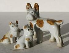 Bull Terrier Set of 3 Mommy and Puppies on Chain Figurines Brown Spots Figurines
