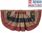 3x6' Patriotic Pleated Fan Bunting, Tea Stained Antiqued Design on Cotton