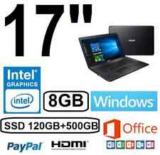 "ORDENADOR PORTATIL ASUS 17"" INTEL 8GB /SSD120+500GB/ WINDOWS + OFFICE"