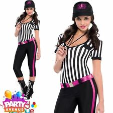 Sexy Womens Referee Fancy Dress Costume Instant Replay Outfit Sports