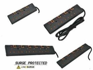 SURGE PROTECTED SWITCHED EXTENSION LEAD CABLE 2/5M METER  3 4 5 6 WAY BLACK UK