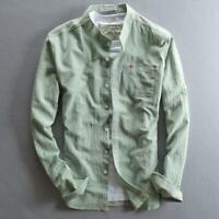Retro Mens Long Sleeve 100% Linen Casual Shirts Stand Collars Tops Jackets Coats