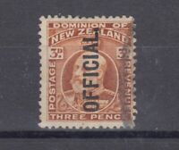 New Zealand KEVII 1907 3d Official SG074 VFU Cat £130 J4976
