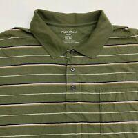 Puritan Golf Polo Shirt Men's 2XL XXL Short Sleeve Green Striped Cotton Blend