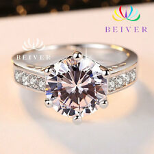 New Luxury 3.0 ctw White Gold Plated CZ Engagement & Wedding Ring